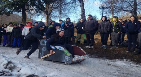 Liceo polivalente de Lonquimay realizó primera competencia de trineos con material reutilizable