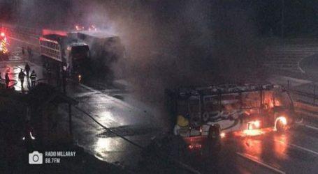 Acusan uso de armas de fuego en quema de camiones en Pidima