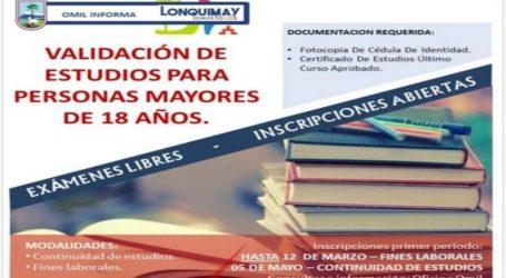 Inscripciones abiertas para la validación de estudios en Lonquimay